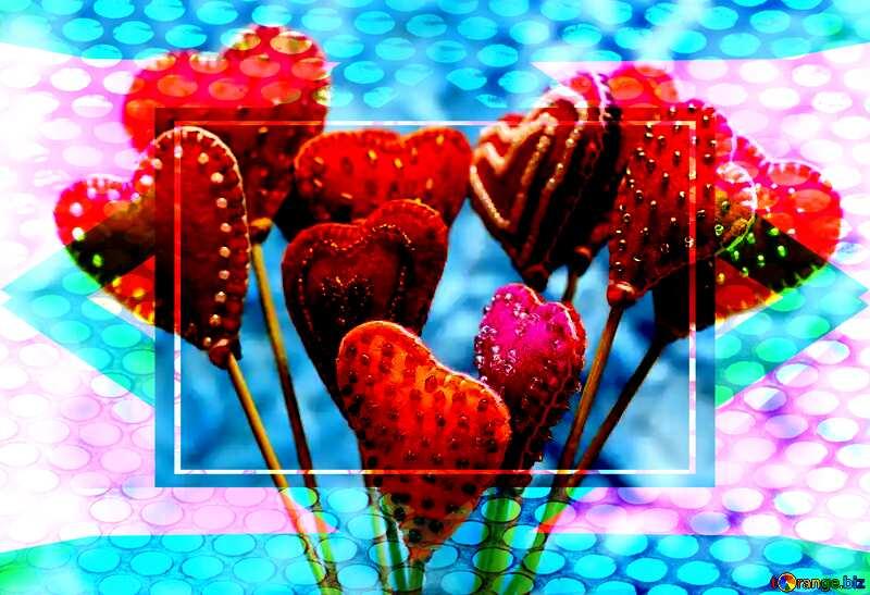 Geometric Grill iron deco art style Frame Hearts Card love №49196