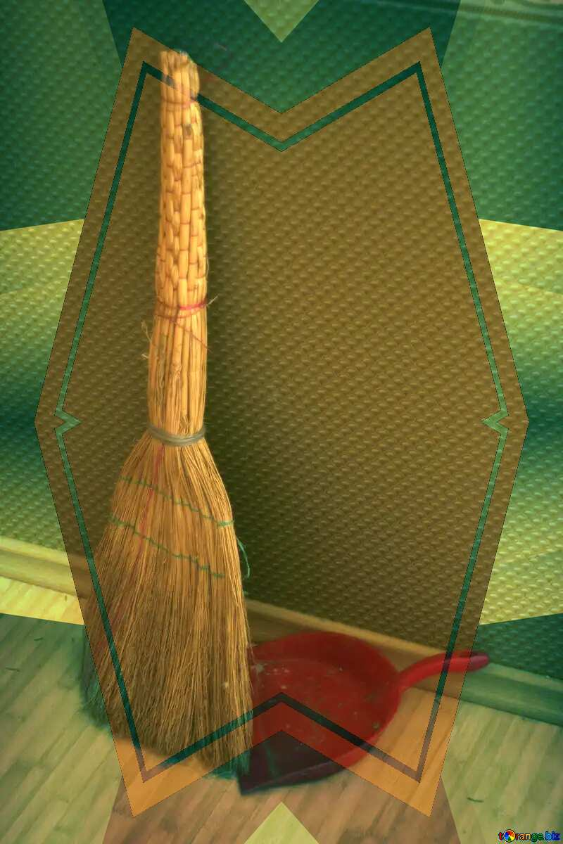 A broom and shovel Blue illustration template frame №795