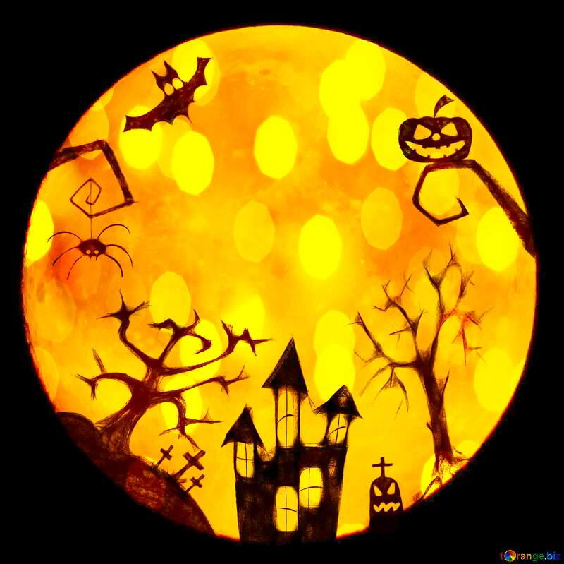 Halloween clipart moon overlay background bokeh №40469