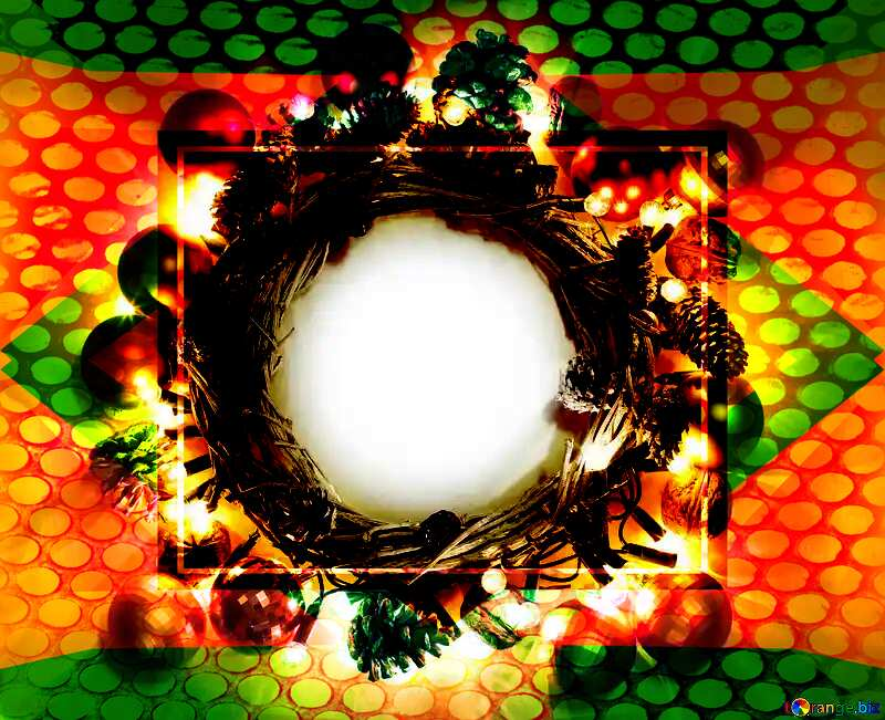 Christmas wreath background with space for text Geometric Grill iron deco art style Frame №48047