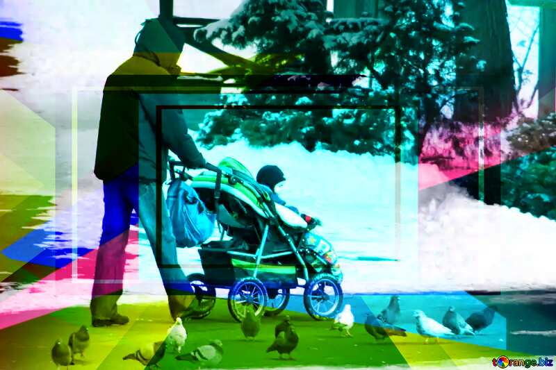 Walks with the baby in the stroller in the winter Colorful illustration template frame responsive №838