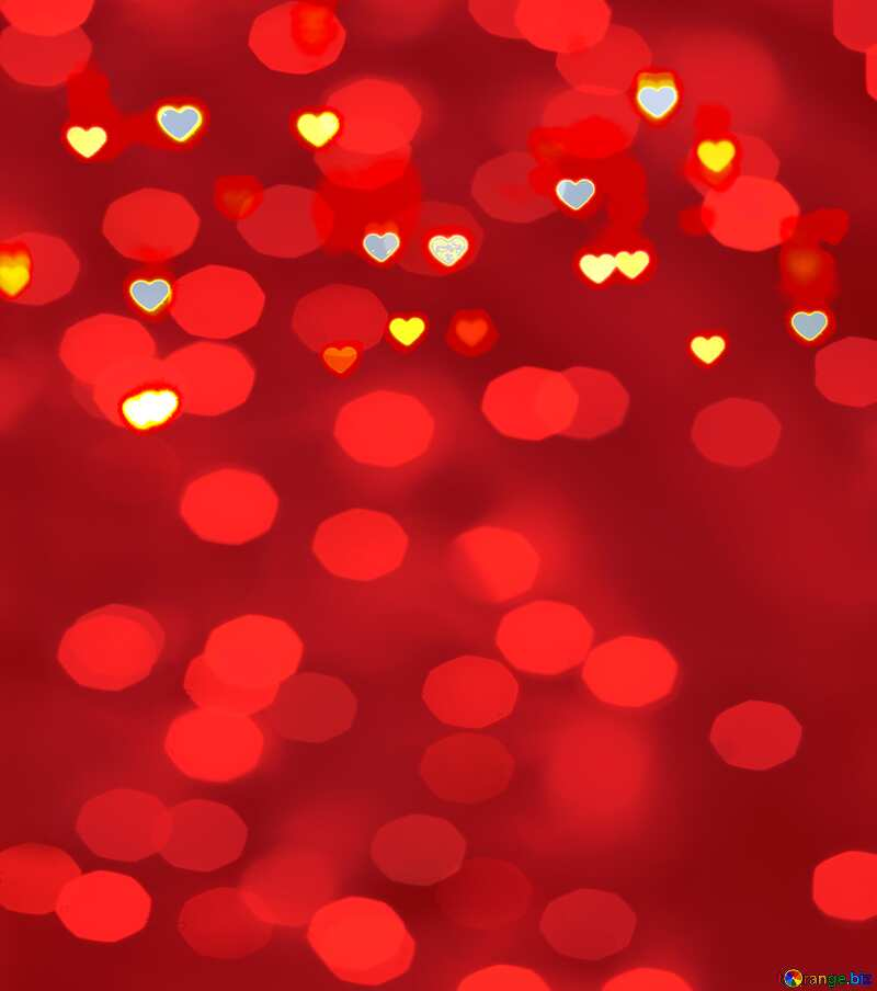 Glowing hearts Christmas red bokeh  background №37848