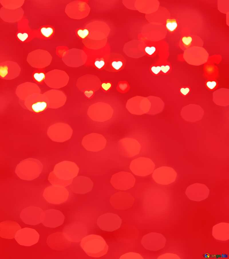Glowing hearts love red bokeh  background №37848