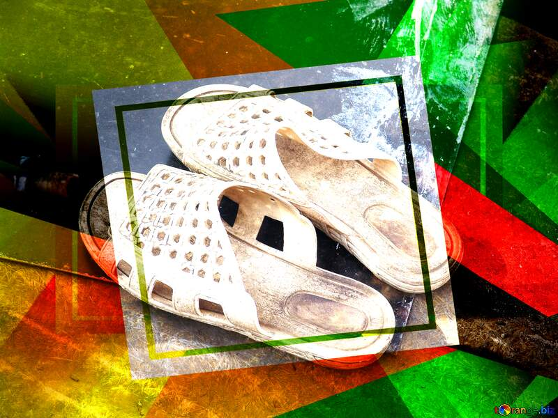 The best shoes.Chinese rubber shoes. Creative abstract Geometrical Future Trend template frame №5411