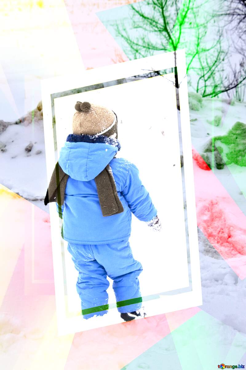 Child walks by snow. Creative abstract Geometrical Future Trend template frame №4446