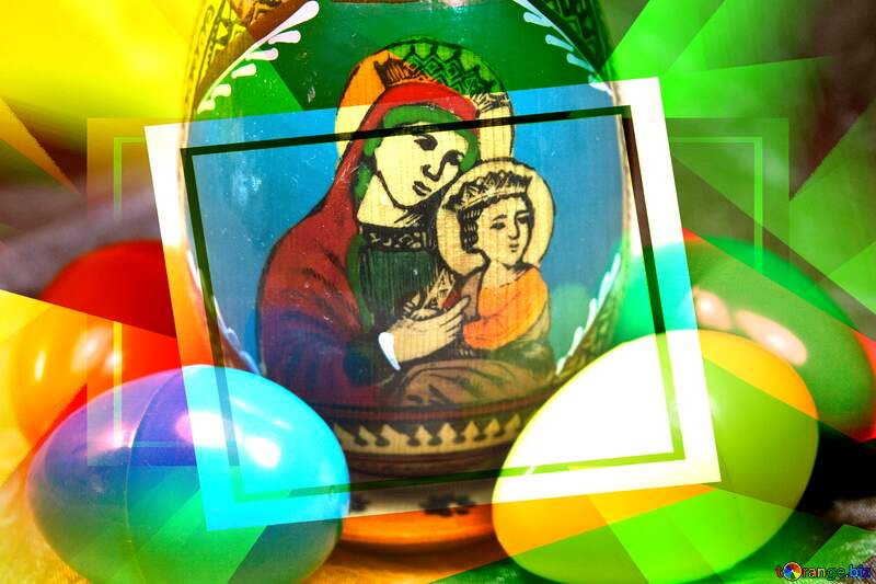 Face of the Virgin Mary on easter egg Creative abstract Geometrical Future Trend template frame №4324