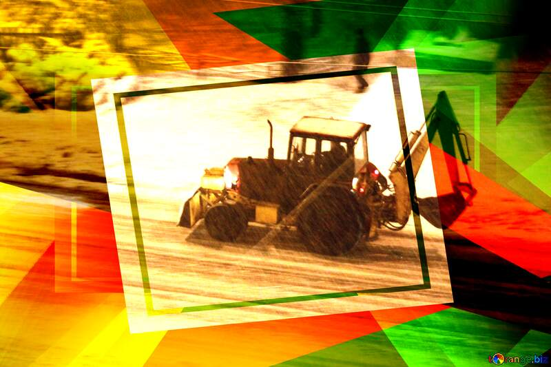 tractor rides at night in the snow Creative abstract Geometrical Future Trend template frame №3490