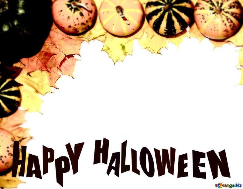 Autumn blank with pumpkins Halloween Happy №35178