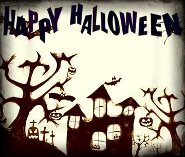 Clipart Happy Halloween dark old frame