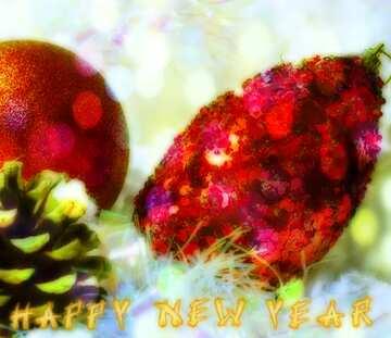 Эффект очень светлый. Очень яркие цвета. Фрагмент. Card with text Happy New Year.