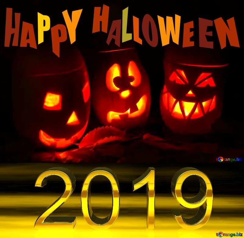 Pumpkins 2019 happy Halloween 3d Digits №24317