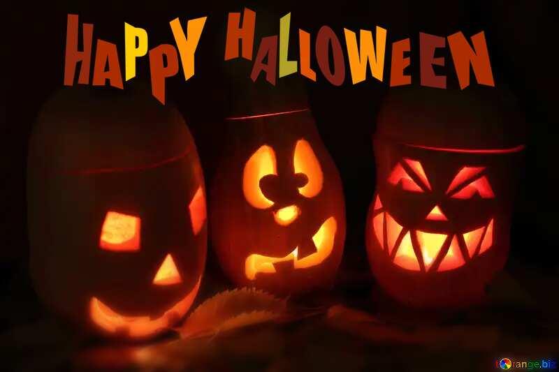 Pumpkins Happy Halloween Card Background №24317