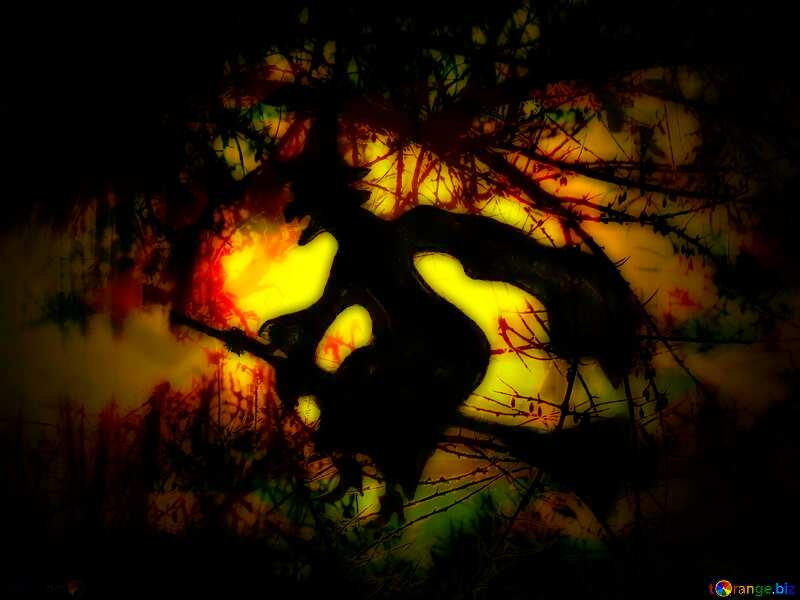 Halloween witch flying spooky forest №40587