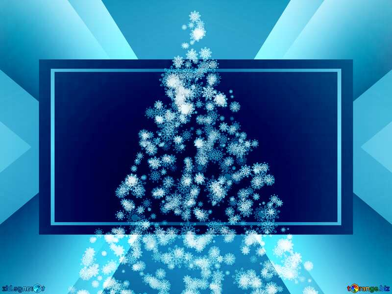 Magic blue holiday abstract  background with blinking stars and falling snowflakes. Blurred bokeh of Christmas lights. №40736