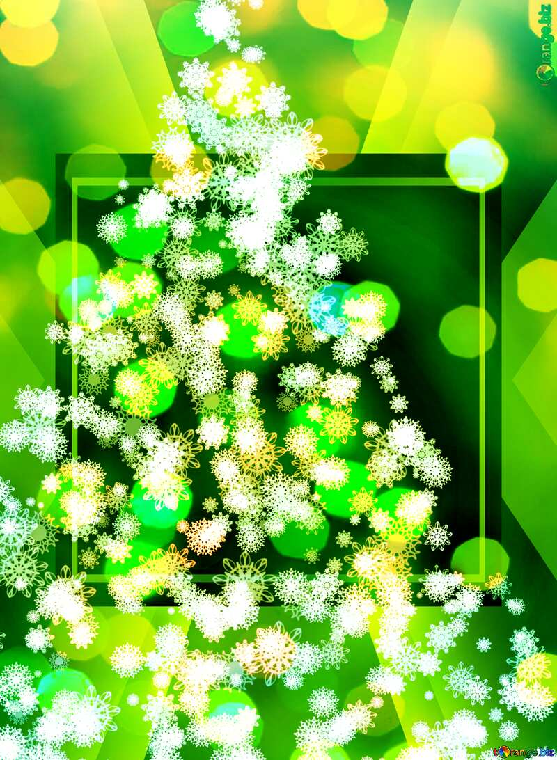 Magic green holiday abstract glitter background with blinking lights and falling snowflakes. Blurred bokeh of Christmas lights. №40736