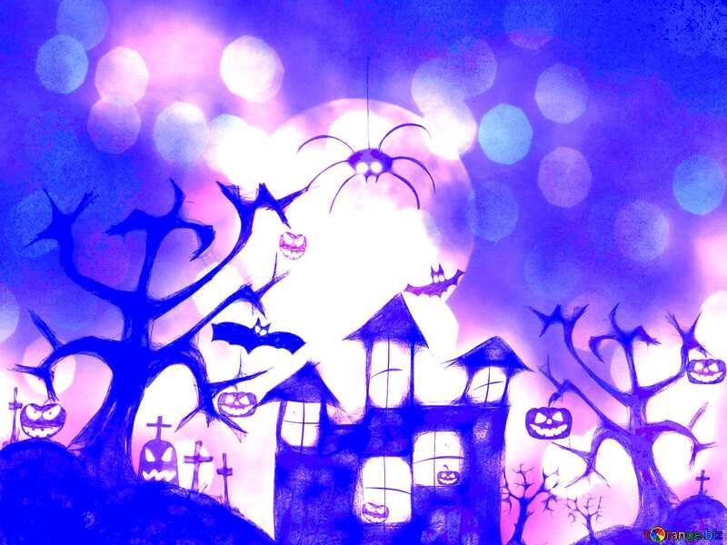 Halloween background blue №40470