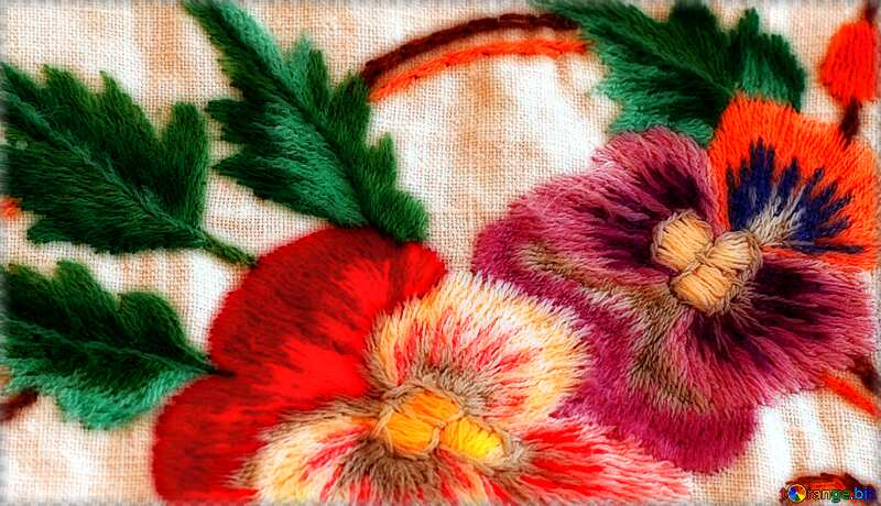 Old folk embroidery soft flowers red №23479
