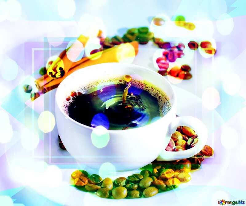 Cup of coffee bokeh lights №30851