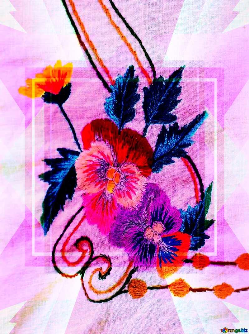 Old folk flower  embroidery heart love template №23479