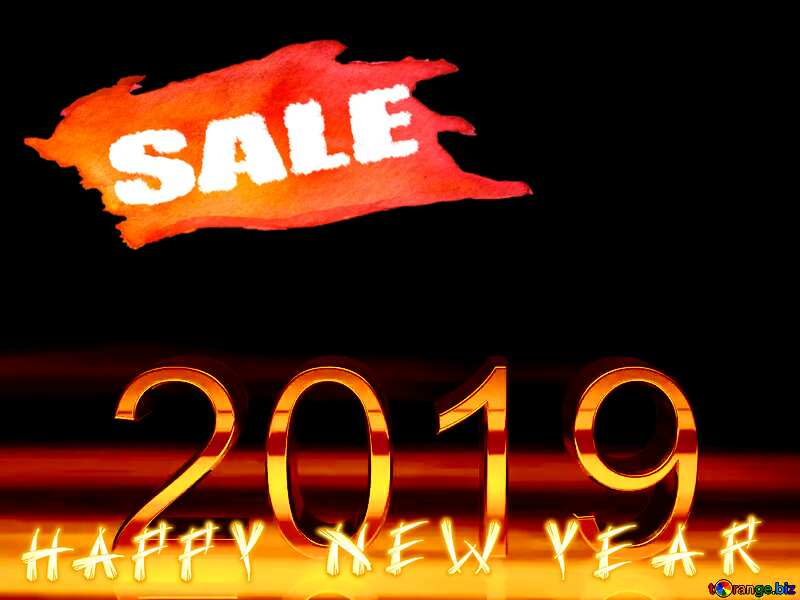Winter sale 2019 3d render gold digits with reflections dark background isolated happy new year №51520