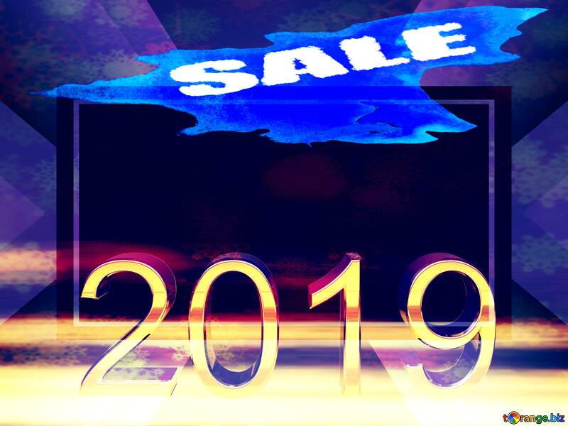 2019 3d render gold digits with reflections dark background isolated winter sale watercolor paint background for shopping promotion top №51520