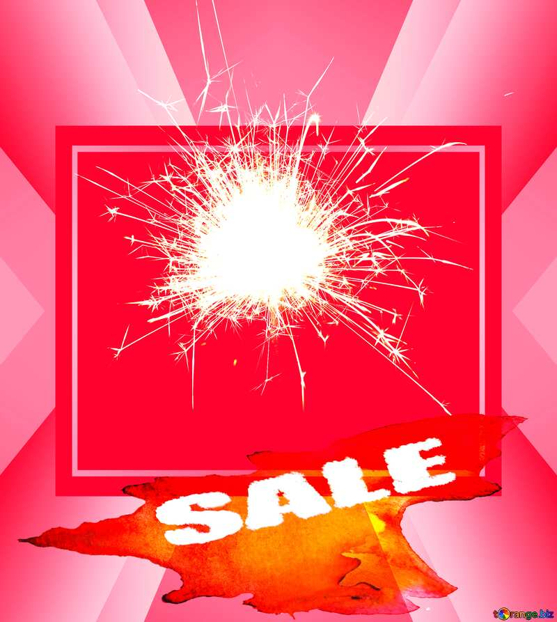 Sparkler on red Sales background №25700