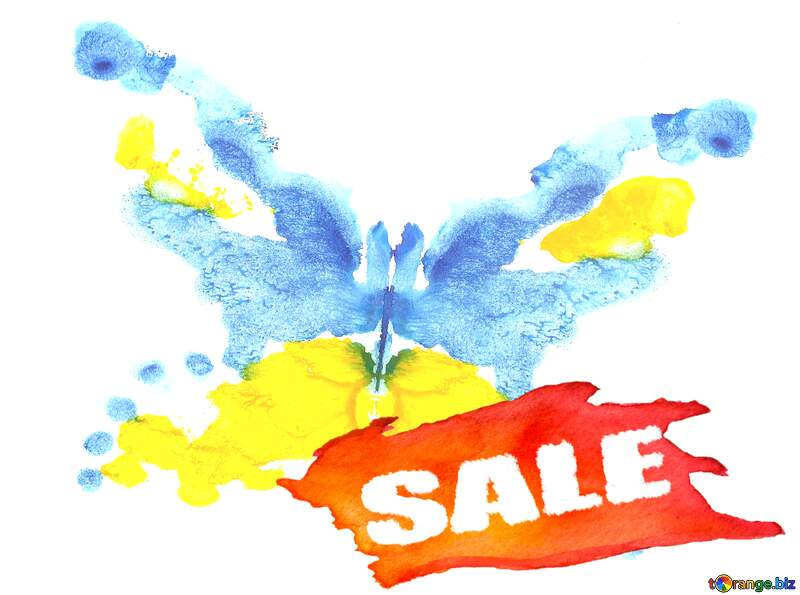 Watercolor paint Drawing butterfly Sale banner background Template for sales №42689