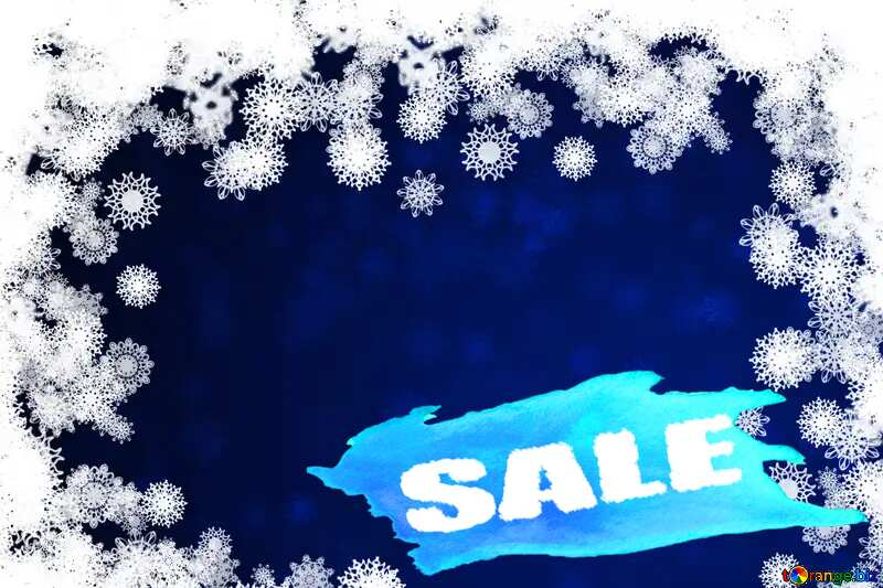 New year blue backdrop with snowflakes winter sale banner template design background №40728