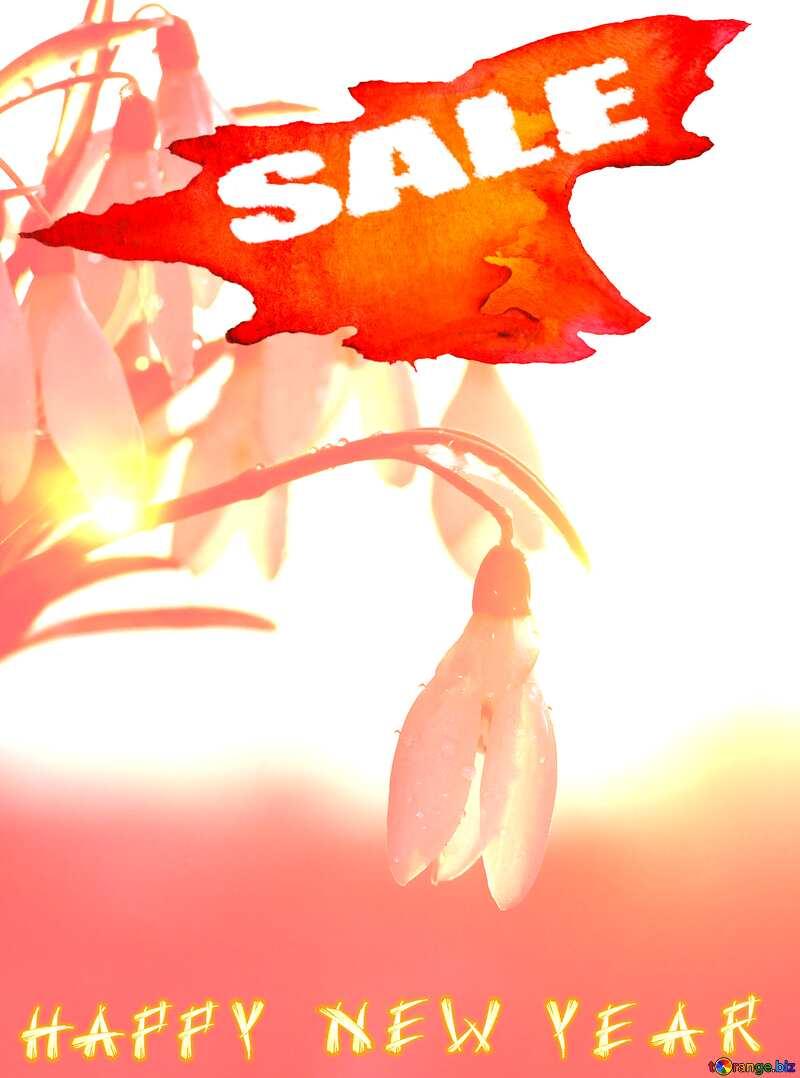 Snowdrop Happy New Year winter sale banner template design background №37979