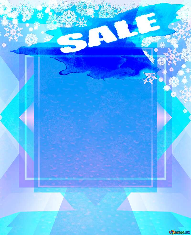 Christmas Snowflakes frame blue winter sale banner template design background №40659