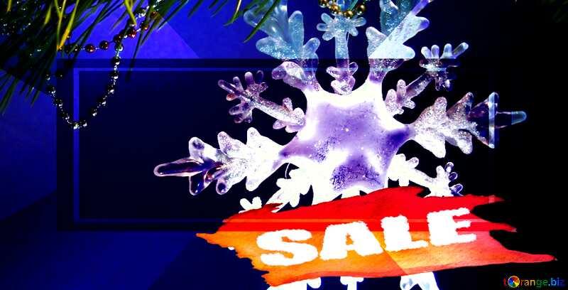 Winter sale snowflake  bottom banner card №2393