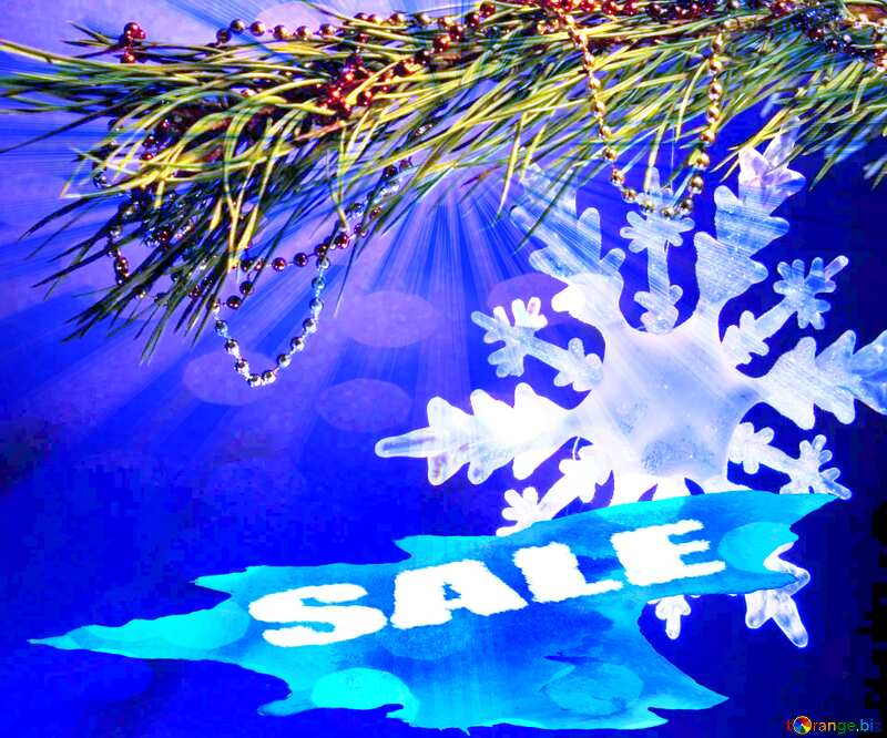 Winter sale snowflake  blue draw background shopping paint №2393