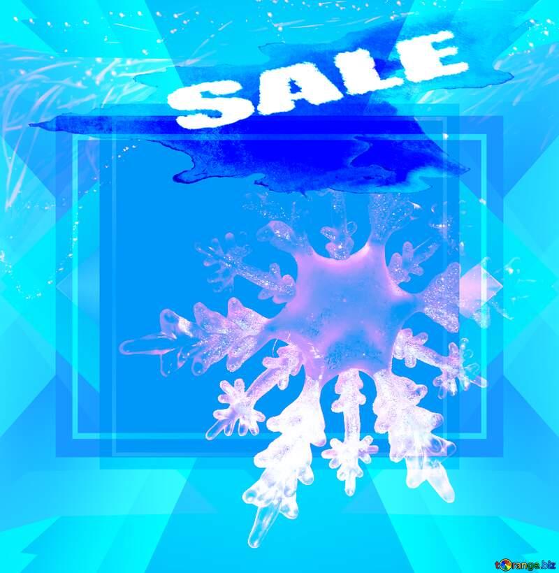 Winter sale snowflake  snow poster frame №2393