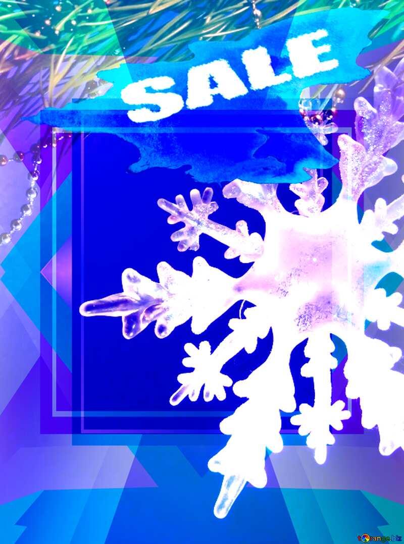 Winter sale snowflake promotion blank templateblue №2393