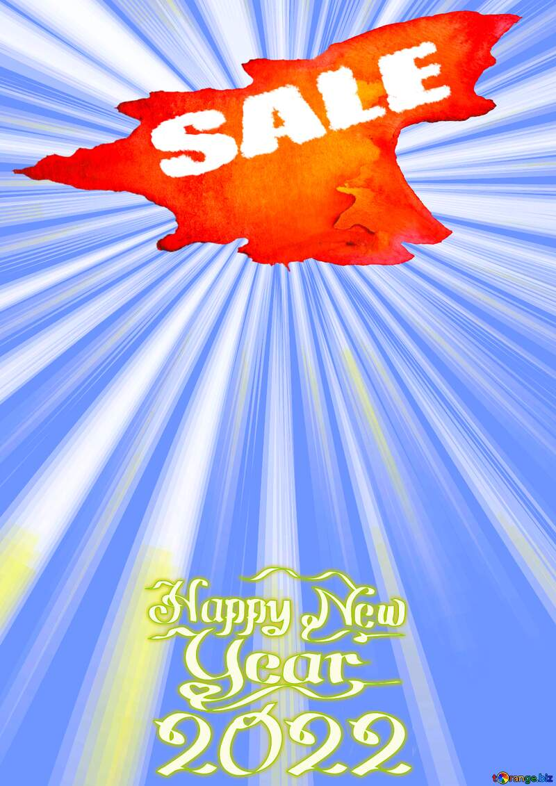 Winter hot sale Happy New Year 2022 Card Background Rays blue №49660
