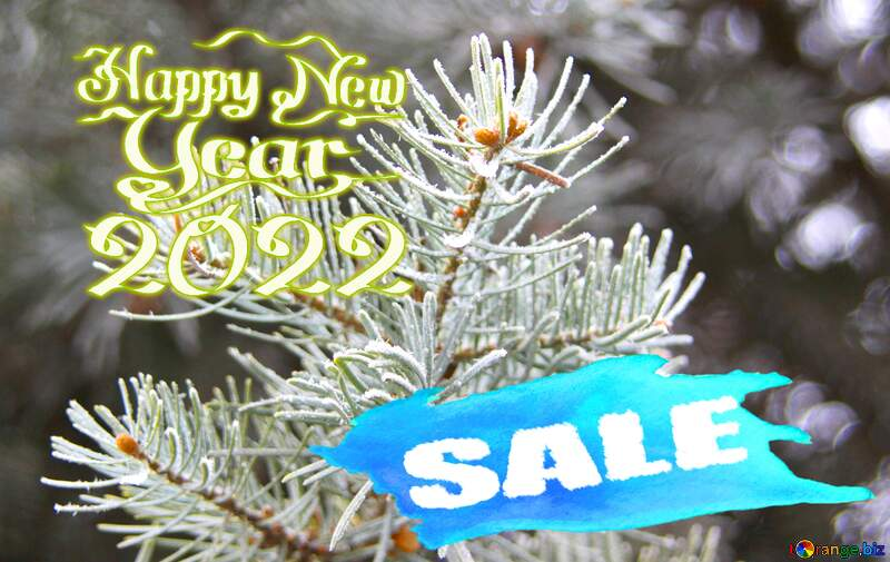 Frosty spruce branch Happy New Year 2021 Card Background Sale background №426