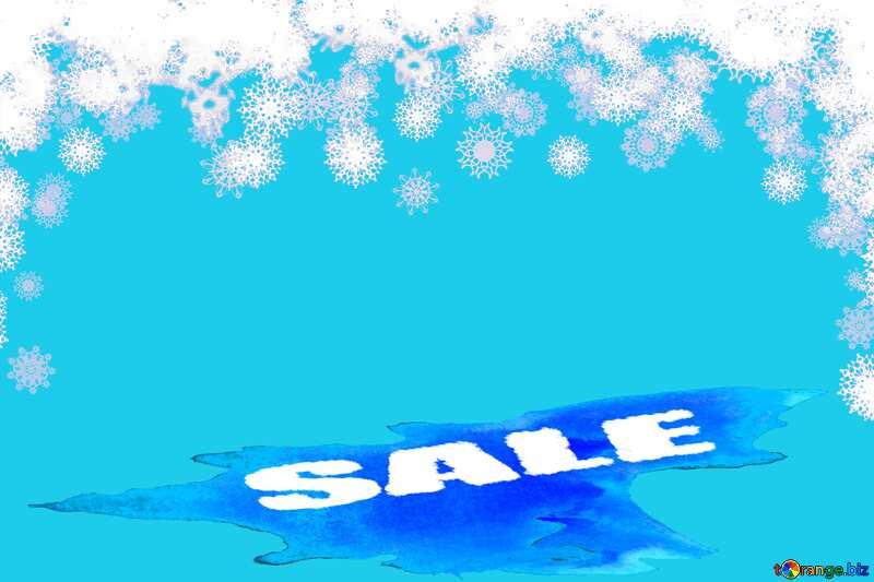 Clipart snowflakes discount sale Winter watercolor background blue №41275
