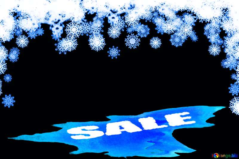 Clipart snowflakes frame Winter sale snow elements blue background shopping promotion №41275