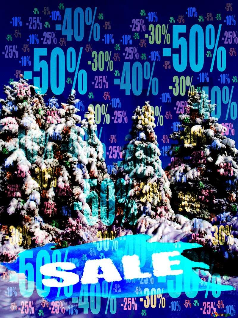 Winter sale Store discount dark background. №10576