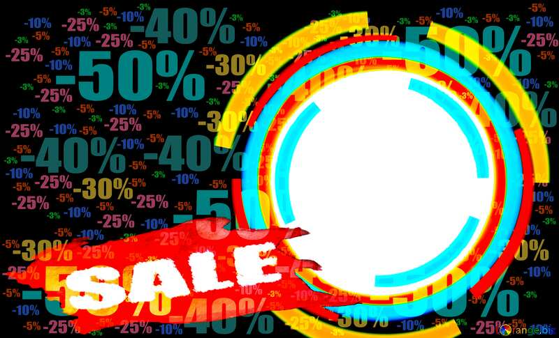Infographics circle frame Store discount dark background. Sale №49680