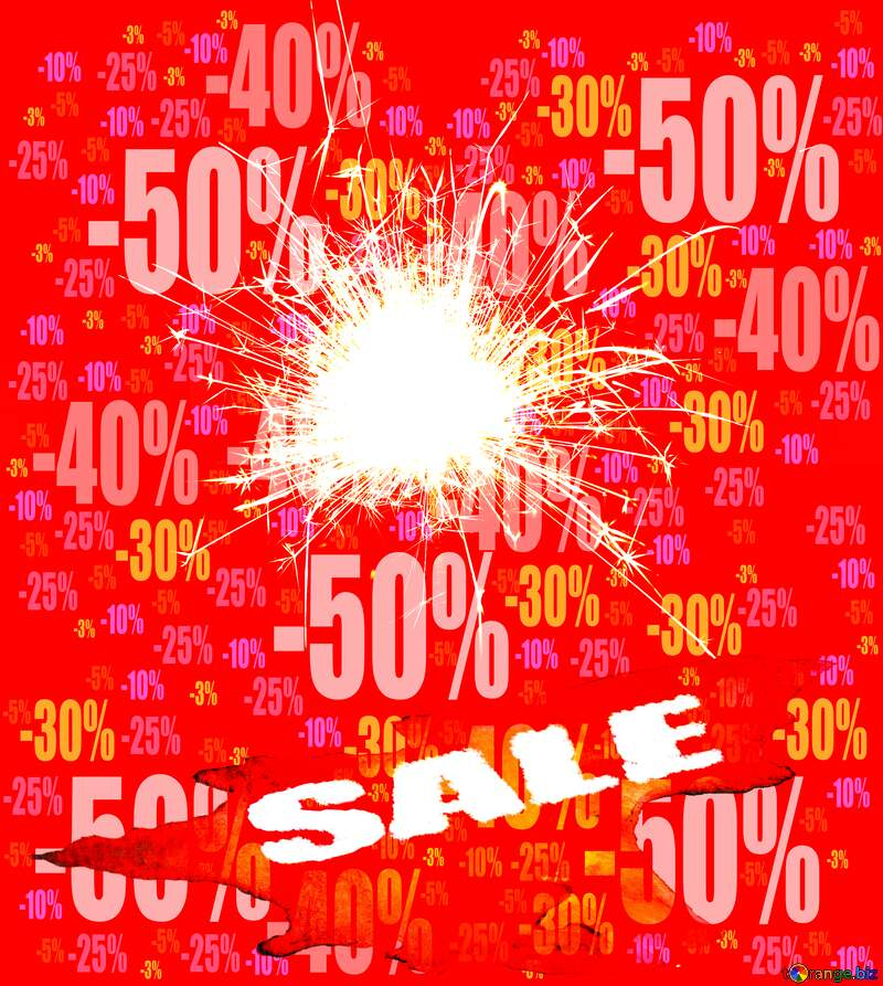 Sparkler on red Sales background Store discount dark background. №25700