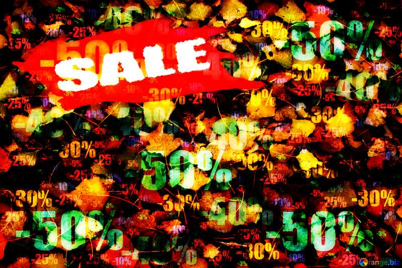 Texture: Autumn leaves sale discount banner design letter Store discount dark background. №3532