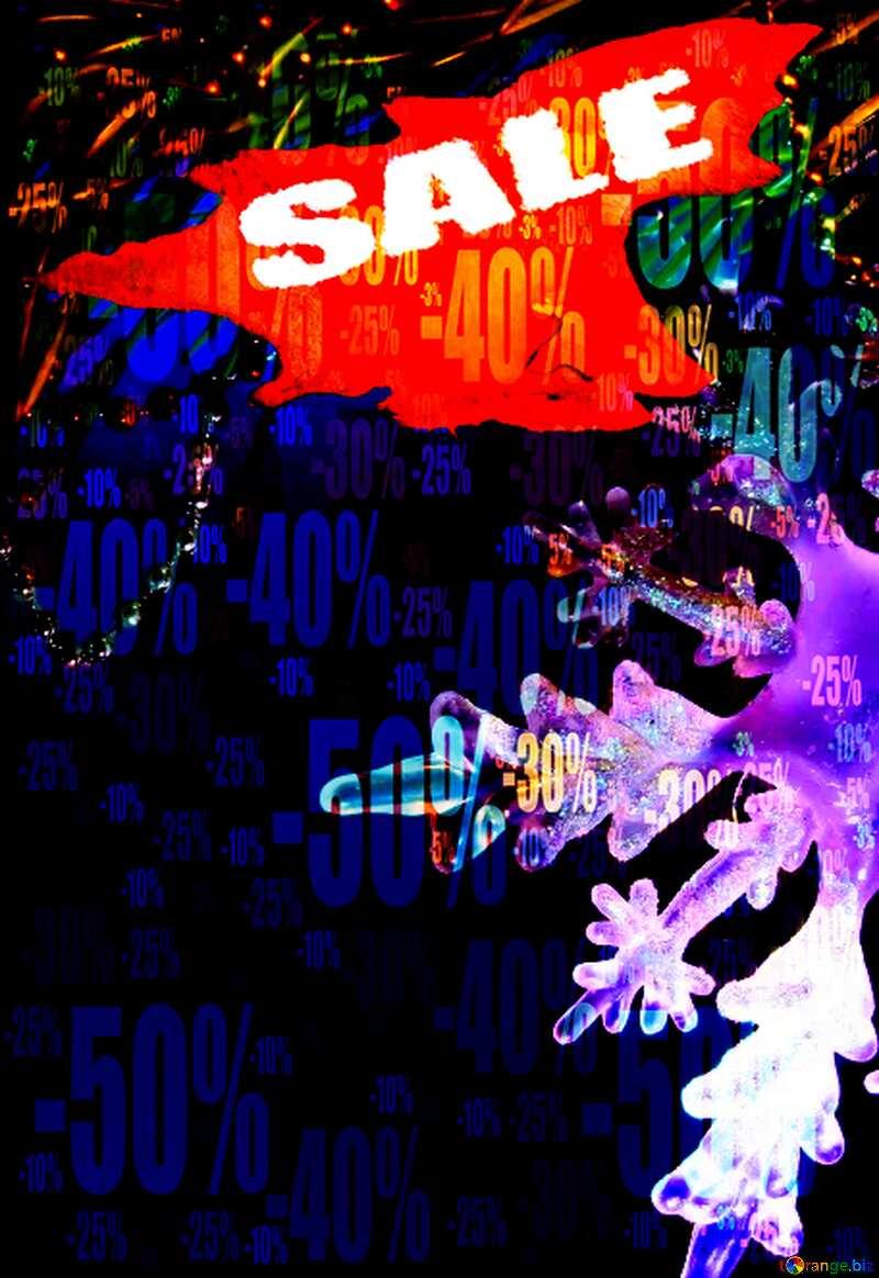 Winter sale snowflake banner elements discount text Store discount dark background. №2393