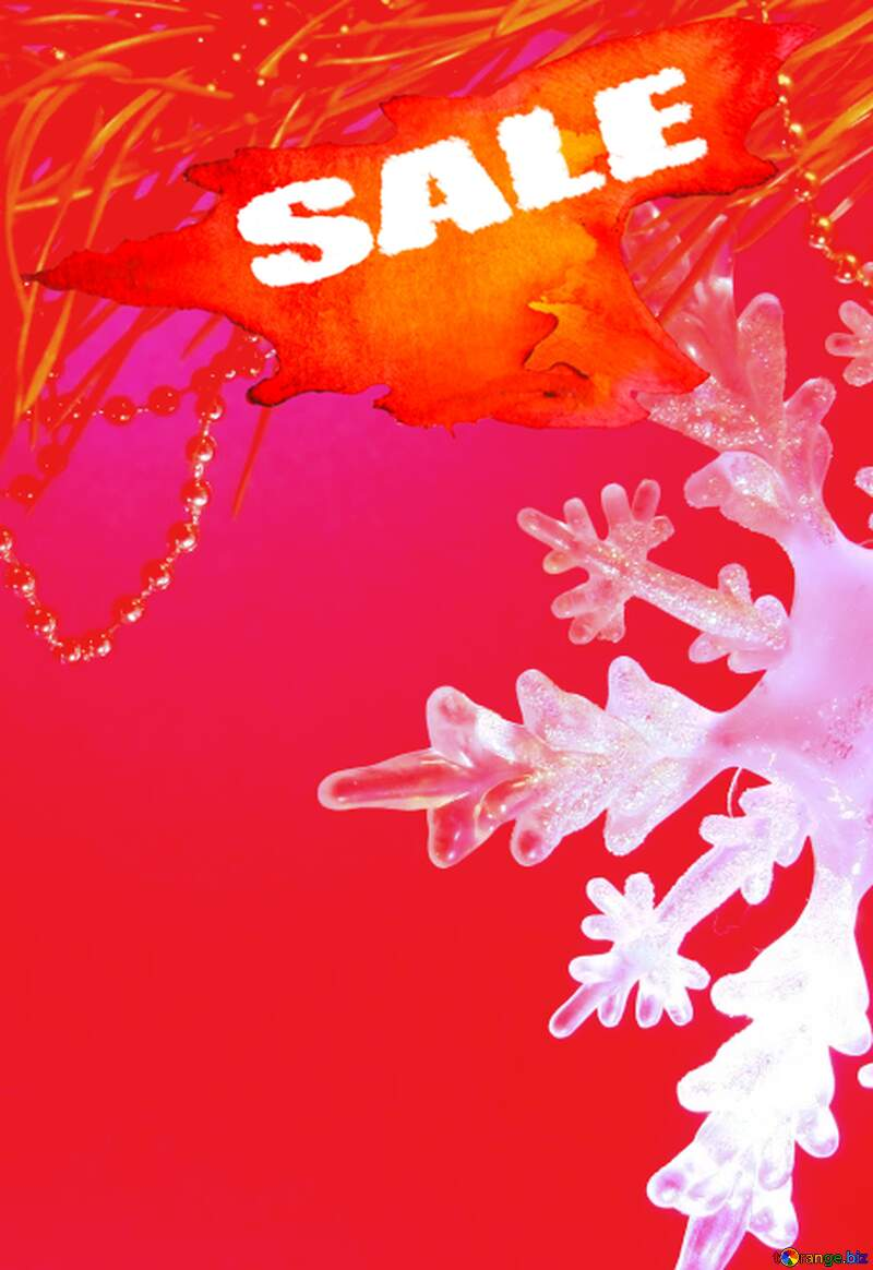 Winter sale snowflake red poster  discount poster background №2393
