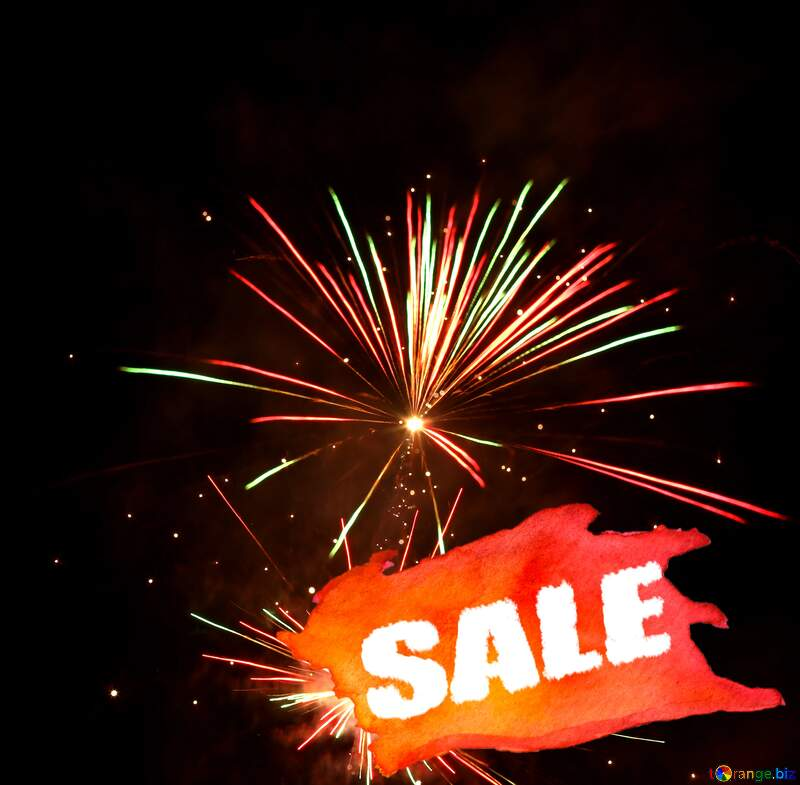 Sale background New Year`s Fireworks №37177