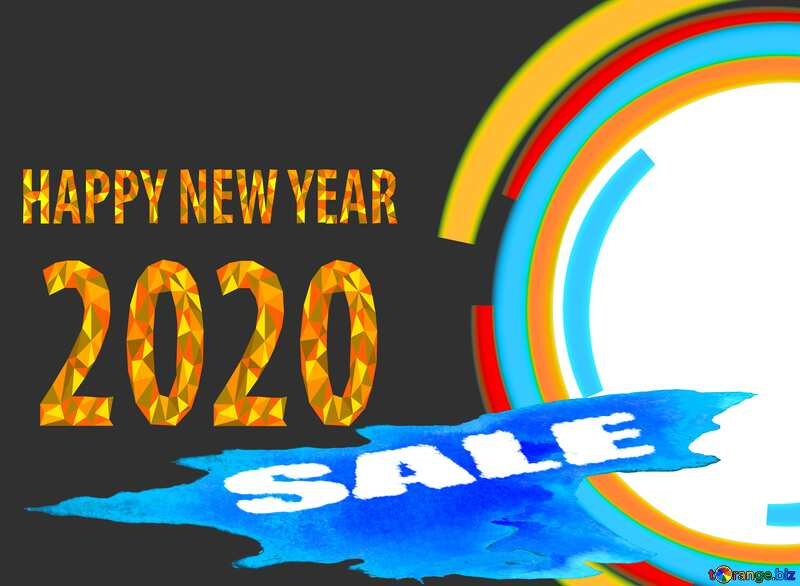 Winter sale circle frame Happy New Year 2020 №49680