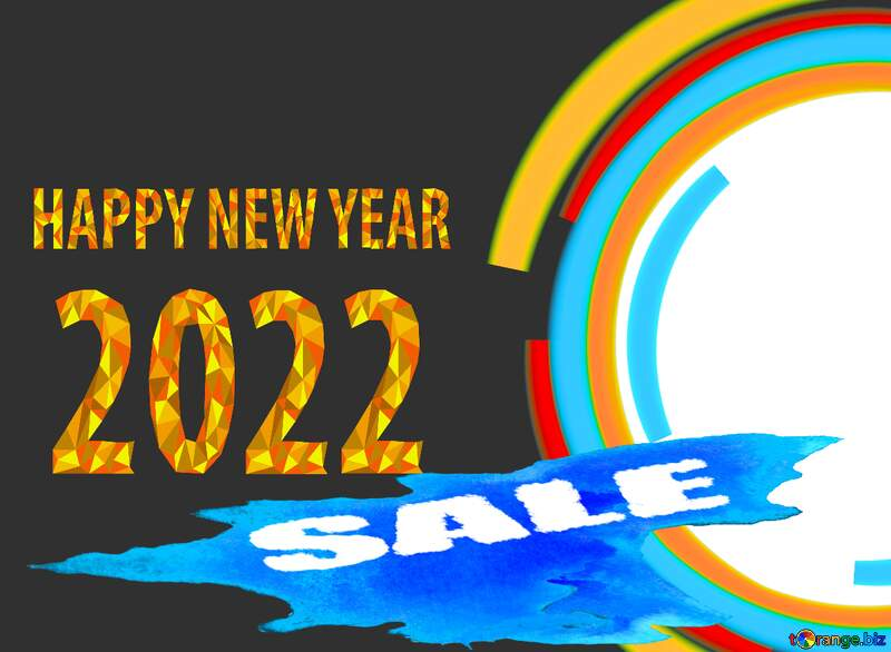 Winter sale circle frame Happy New Year 2022 №49680