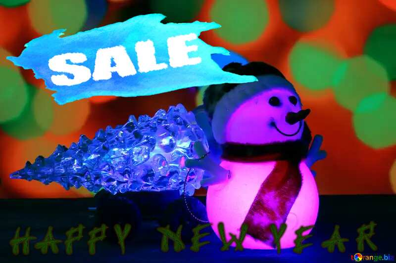 Christmas Snowman happy new year winter sale poster template design №48110
