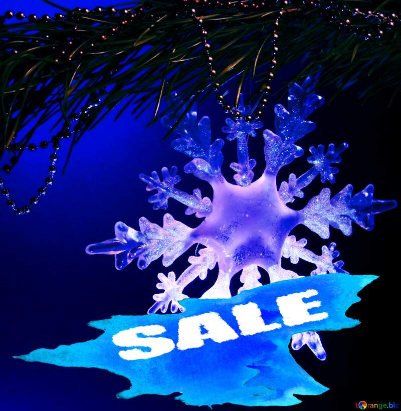 Winter sale snowflake  blue shopping background №2393