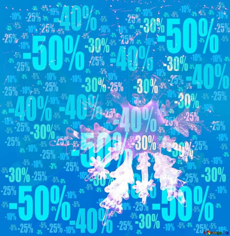 Winter sale snowflake snow poster frame Store discount dark background. №2393